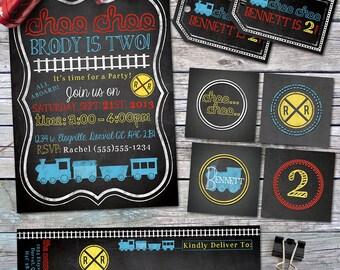 Train Birthday Party Pack- All Aboard - Choo Choo - Blackboard, Chalkboard - Custom, Printable Designs