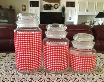 Vintage Gingham Check Jars, Canisters, Red and White,  Kitchen Storage, Glass Jars, Set of Three, Home Decor, Storage Jars, Containers