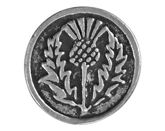 2 Round Thistle Flower 11/16 inch ( 17 mm ) Pewter Buttons