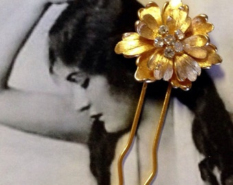 Decorative Hair Pin Jewelry Gold Holiday Floral Rhinestone Hairpin (1), Delicate Petals...