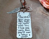 Daddy memorial Keychain, dad loss memorial, daddy's girl, dad remembrance, sympathy gift, mom memorial gift, mom loss memorial, parent loss