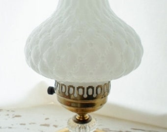 ON SALE Vintage Brass & Clear Glass Base With Milk Glass Shade Electric Hurricane Lamp With Milk Glass Hobnail Shade, Table Lamp, Nightstand