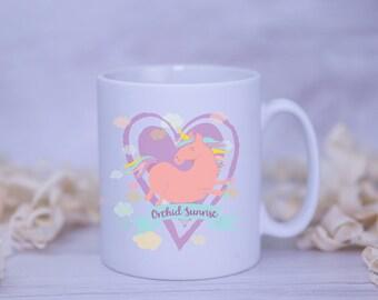Named Unicorn Satin Coated Mug - Colours to Choose From