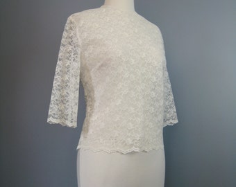 White Lace Blouse / Vtg 50s / Buttons in back, Sheer Sleeves All lace Blouse
