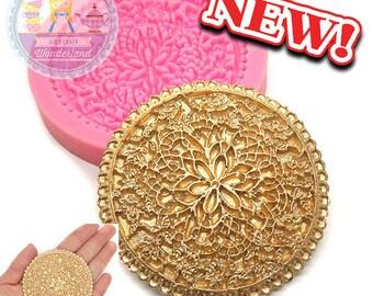 Round Floral Lace Applique Silicone Mold 495L Gumpaste Fondant Chocolate Melte Candy Mold Cake Decoration diy jewllery BEST QUALITY