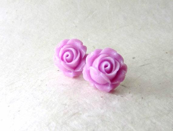 Lilac Rose Earrings, Big Flower Studs, Pastel Purple Flower Stud Earrings, Resin Rose Studs, Lavender Bridesmaids, Spring BridesmaidJewelry