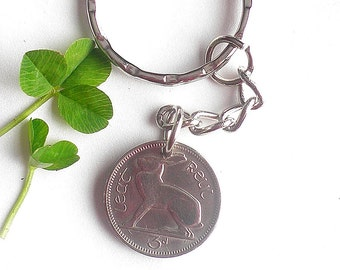 49th Birthday Keyring, 1968 Coin Keyfob, Zipper Pull Bag Charm, Ireland Irish Rabbit 3d. 1928 - 1968 Leat Reul  Ireland Direct coins