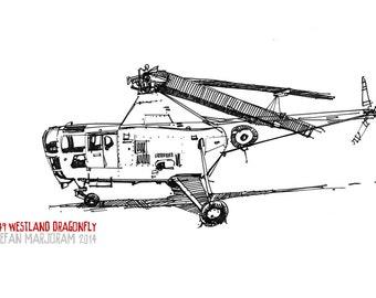 1949 Westland Dragonfly - Original A3 Pen Sketch