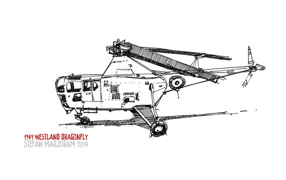 1949 Westland Dragonfly - Original A3 Pen Sketch