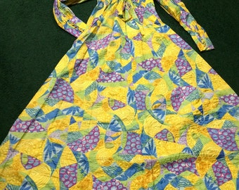 Vintage Happy hippie festival boho patchwork-look caftan maxi dress