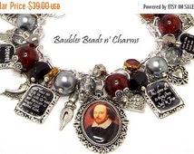 ON SALE William Shakespeare Quotes Charm Bracelet, Literary Charm Bracelet Jewelry, Writers Authors Charm Bracelet Jewelry