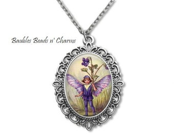 Flower Fairy Faerie-3 Pendant Necklace,  Purple Fairy Faerie Art Jewelry, Fairy Photo Charm Necklace, Faerie Picture Charm Necklace