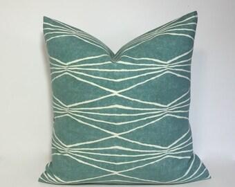 Teal blue Modern geometric pillow cover. Robert Allen Design pillow cover home decor accent. Handcut Shapes Rain