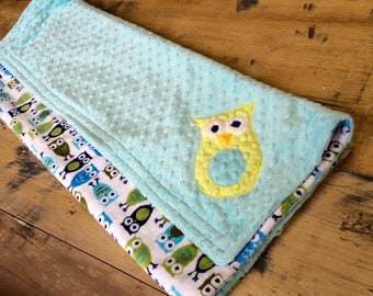 Owls/Blue Minky Blanket for Baby/Toddler