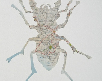 Lg. MEXICAN STAG BEETLE - Handmade from a vintage 1960s map of Mexico