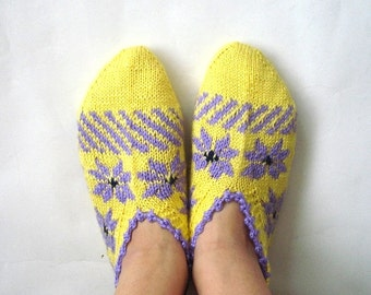SALE womens slippers, knit crochet slippers, knit socks, lilac and yellow Turkish Socks, christmas gifts for women heart love size 6-7