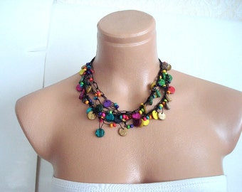 Beaded Necklace, neck wrap Gift for woman, colorful beaded necklace, girls womans rainbow necklace Christmas gifts for girls under 25 usd