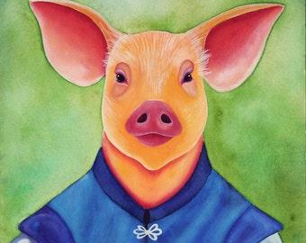 Pig Painting Anthropomorphic Art Animals in Clothes Watercolor Painting Watercolor Art Animal Art Print Farm Animal Art Watercolor Print