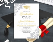 Graduation Invitation printable Gold College Graduation party announcement template High School graduation party invitation instant download