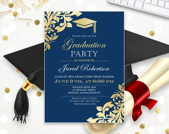 graduation announcement printable navy gold college graduation invitation template instant download high school graduation party invitation - College Graduation Invitation Templates