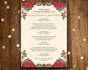 Printable Wedding Programs Burgundy and Blush Pink roses - EDITABLE TEXT - Digital Wedding Program Cards print at home