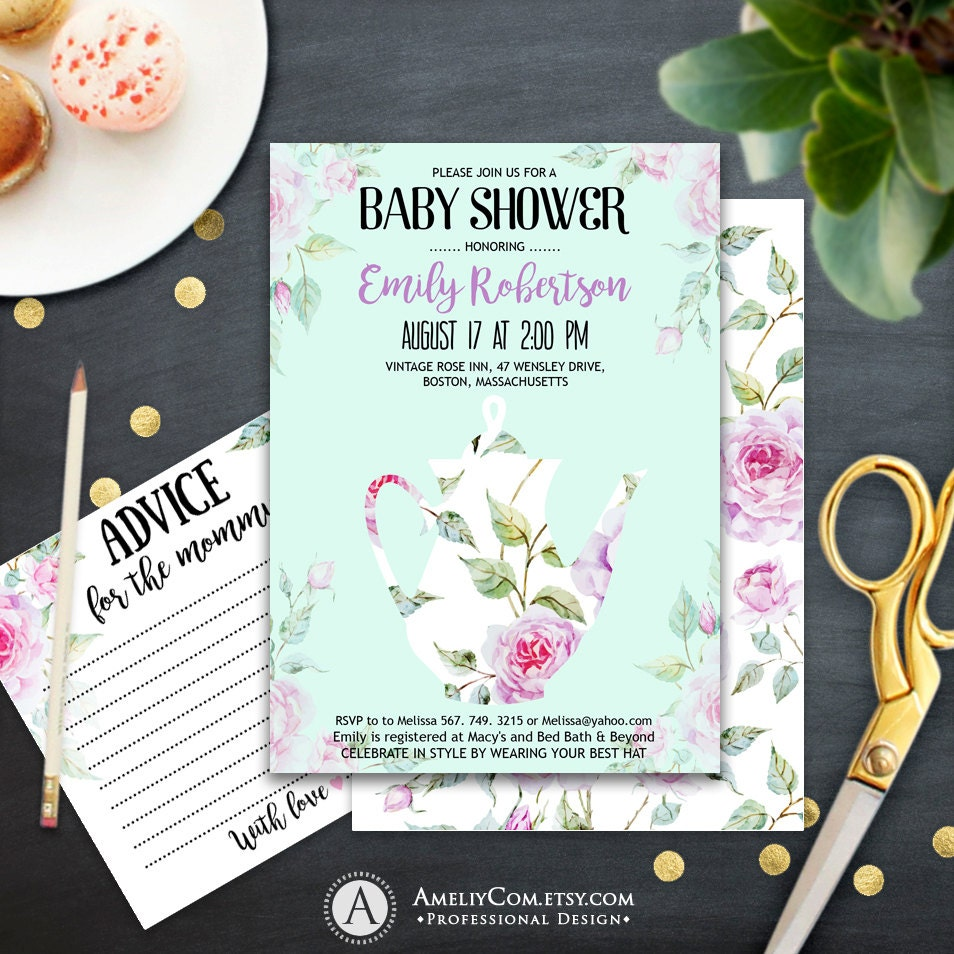 mint baby shower invites set printables baby shower tea party