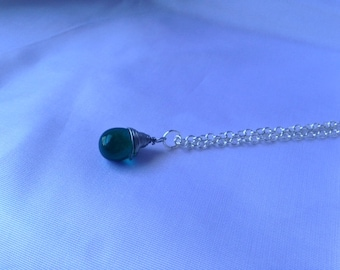 Green Wire Wrapped Tear Drop Necklace