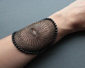 MILLY Round Large Cuff Wide Bracelet/ Copper Wire Crocheted Unique Unusual Statement Bracelet/ Black Dark Modern Bracelet. Made to order.