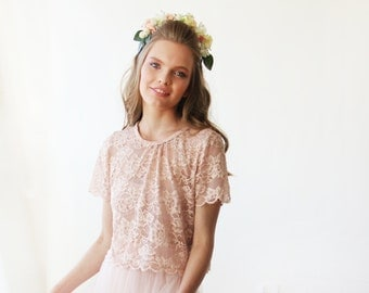Lace pink short sleeves top , Pink bridal lace top