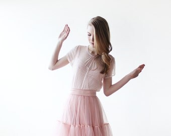Blush Chiffon dots short sleeves top, Pink chiffon top, Sheer chiffon top 2045