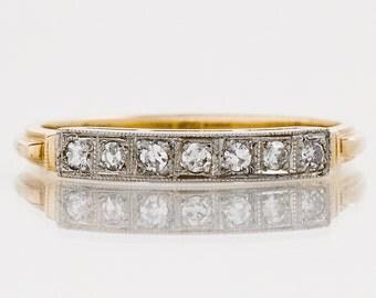 Antique Wedding Band - Antique 1920's 14k Two-Tone Diamond Wedding Band