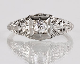 "Antique Engagement Ring - Antique ""1936"" 14K White Gold Filigree Diamond Engagement Ring"