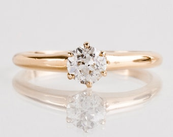 Antique Engagement Ring - Antique 14k Yellow Gold Diamond Solitaire Ring