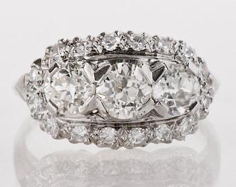 Antique Engagement Ring - Antique 1930s Platinum 3-Stone Diamond Band