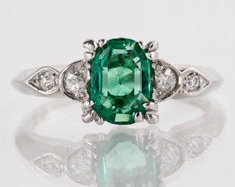 Vintage Engagement Ring - Vintage Platinum Gem Quality Emerald and Diamond Ring - Emerald Ring