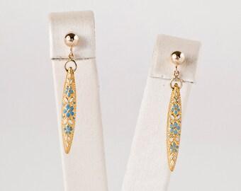 Antique Earrings - Antique 1910s 14k Yellow Gold Flower Enamel Earrings