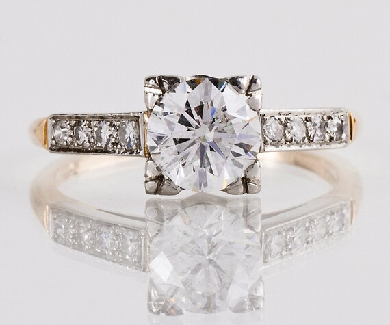 Vintage Engagement Ring - Vintage 1940s Two-Tone Diamond Engagement Ring