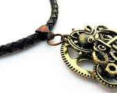 Valentines Day Gift, Steampunk Necklace, Boyfriend Gift, Man Necklace, Gift for Him, Black Leather Necklace, Man Jewellery, Men Jewelry