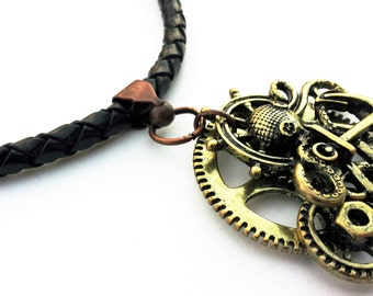 Gears Necklace, Mens Necklace, Steampunk Necklace , Boyfriend Gift, Black Necklace, Gift for Him, Black Leather Necklace Men, Men Jewelry