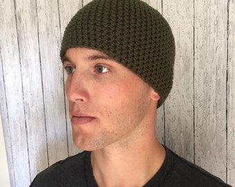 Mens Beanie Hat Army Green Handmade Crochet