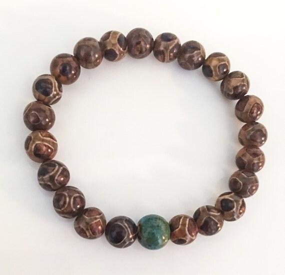 tibetan agate dzi bead stretchy bracelet with by theartsynomad