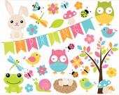 Clipart - Spring Critters / Easter Animals/ Owl, dragonflies, butterflies, birds nest - Digital Clip Art (Instant Download)