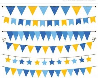 50% OFF SALE Bunting - Hanukkah Bunting Banner Flags Clip Art / Digital Clipart - Instant Downloa