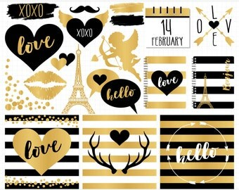 Digital Stamps - Hipster Valentines Day / Black & Gold foil, nordic valentine clipart, deer antlers, eiffel tower, confetti clipart