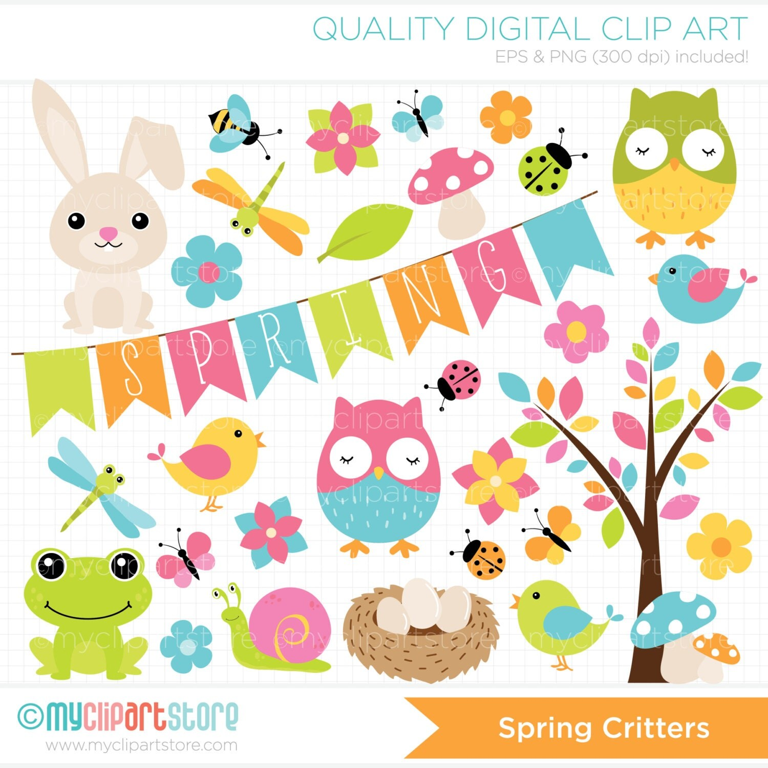 Clipart - Spring Critters / Easter Animals/ Owl ...