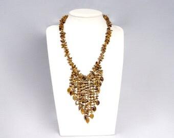 Vintage Tiger Eye Fringe Bib Beaded Necklace