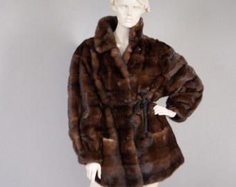 SAGA MINK Fabulous Vintage Full Pelt Baguzin Mink Fur Coat Near Mint Condition