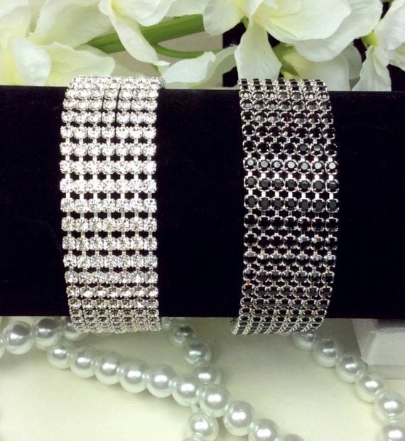 Swarovski Seven Row Crystal Bracelet -  Radiant Crystal Clear or Sophisticated Jet Black - Classy - Designer Inspired - FREE SHIPPING