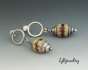 Silver Earrings, Dangle Earrings, Drop Earrings, Glass Bead Earrings, Metalsmith Earrings, Handmade Jewelry
