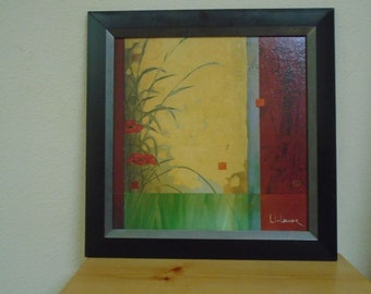 Well Listed Artist / Don Li Leger / Oil on board / Floral Abstract